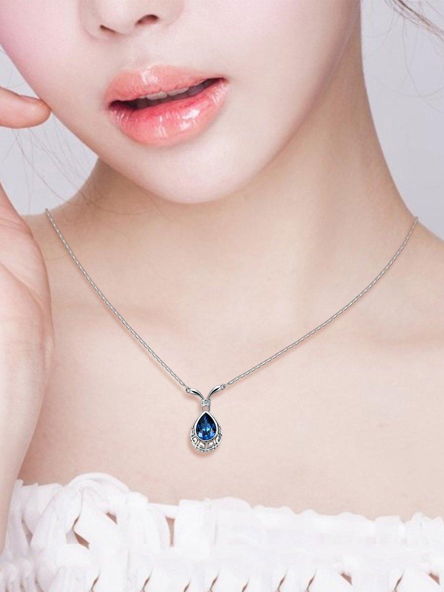 Schmuck Set Blue Waterdrop Anhänger Halskette und Ohrringe Geschenke für Frauen