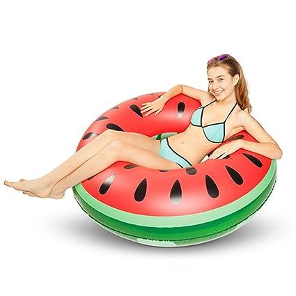Playa Fruta Nadar Rojo Verde Forma inflable de la sandía del anillo del PVC que nada el asiento del flotador ...