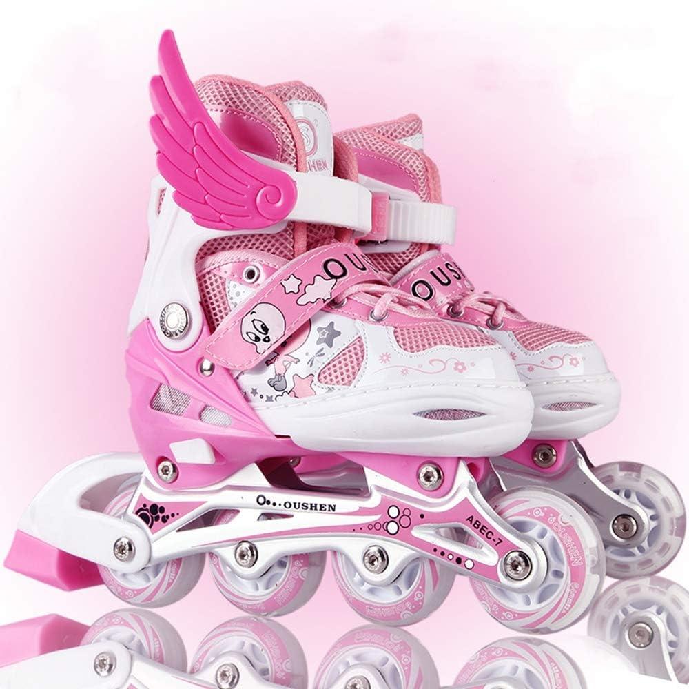 PUフルフラッシュ、調節可能スケートセット消臭剤/防水 子供用インラインスケート,ピンク,L ピンク L