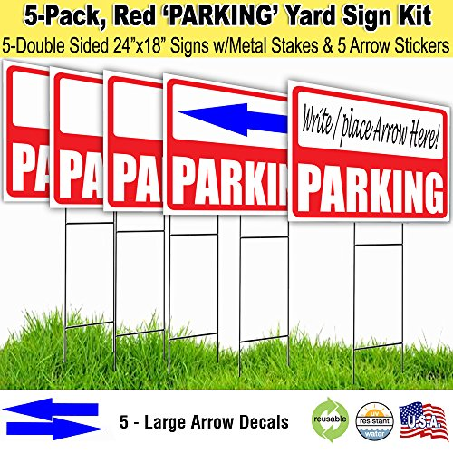 Sign Double Arrow (Parking Lawn Sign Kit with Giant Arrow Stickers (5))