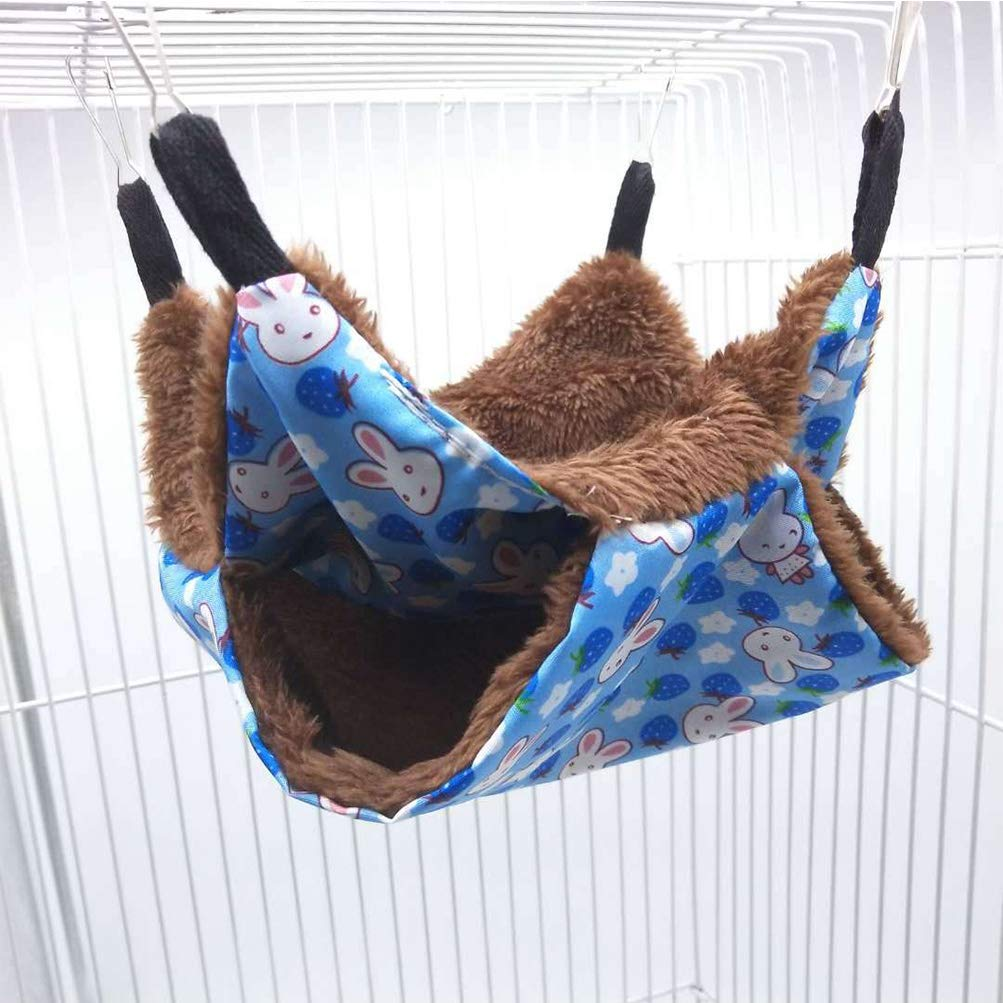 Yu-Xiang Hamster Double Sided Hammock Pet Sleeping Bag House Hanging Bed for Hanging Guinea Pig Hamster Rat and Hedgehog (L, Blue) by Yu-Xiang