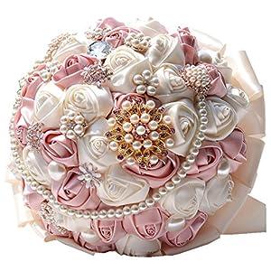 Rose Flower Wedding Bouquet Brooch Crystal Pearls Silk Bridal Flowers 87