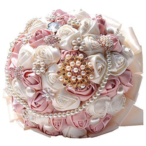 Rose Flower Wedding Bouquet Brooch Crystal Pearls Silk Bridal Flowers (Pink)