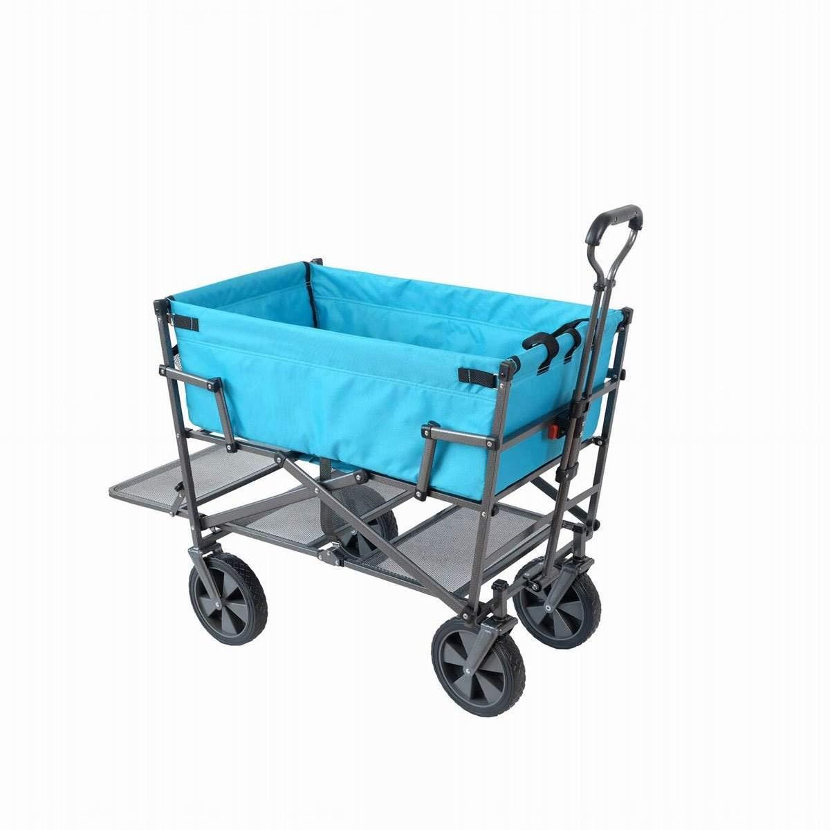 Mac Sports Heavy Duty Steel Double Decker Collapsible Yard Cart Wagon, Blue by Mac Sports