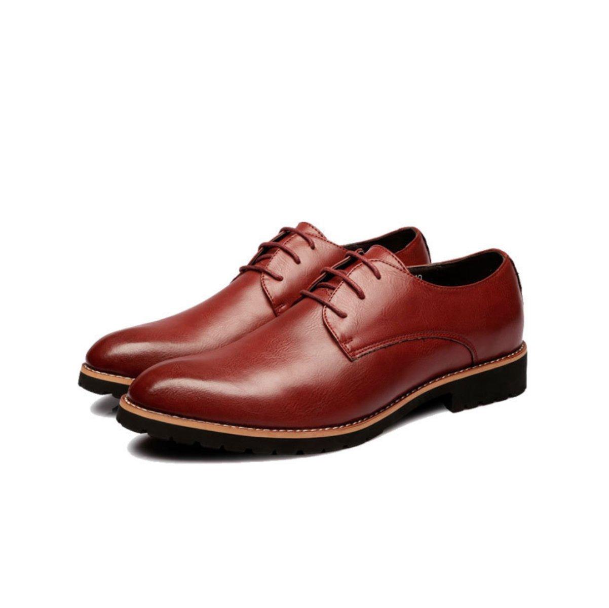LYZGF Hombres Jóvenes Primavera Y Otoño Negocios Ocio Moda Encaje Zapatos De Cuero,Brown-38 38|Brown