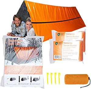 MrsharkFit Emergency Tent with 2 Emergency Blanket – 2 Person Emergency Tent – Use As Survival Tent, Emergency Shelter, Tube Tent, Survival Tarp - Includes 4 Tent Nail