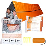 MrsharkFit Emergency Tent with 2 Emergency Blanket – 2 Person Emergency Tent – Use As Survival Tent, Emergency Shelter, Tube