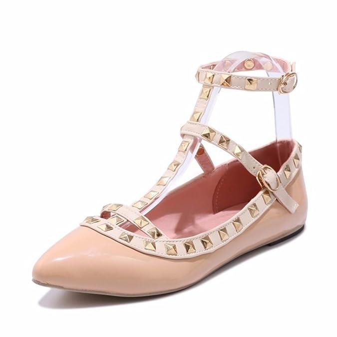 Womens Knöchel Schnalle, Flache Sohle, Großes Format, Einzelne Schuhe, Blau, 41 RFF-Womens Shoes