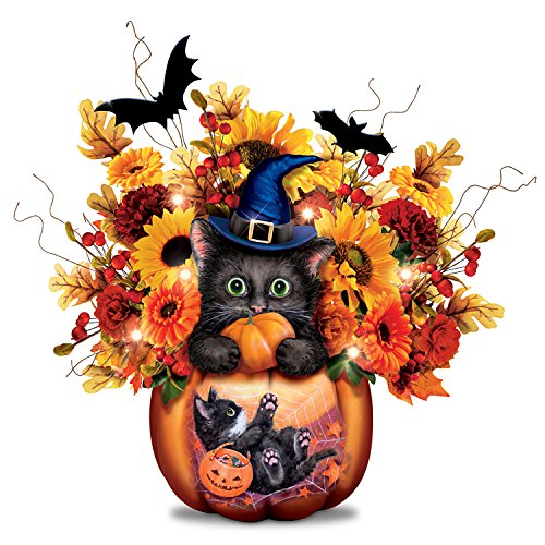 Kayomi Harai Scaredy Cat Always in Bloom Lighted Halloween Floral Centerpiece by The Bradford -