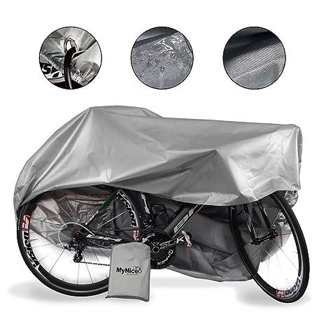 MyNiceOption Funda para bicicleta impermeable – resistente a los rayos UV del sol – con orificio para la cadena de seguridad- Banda elástica y hebilla ...