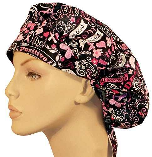 Womens Surgical Scrub Hat - Designer Bouffant Medical Scrub Cap - Pink Ribbon Collage On Black