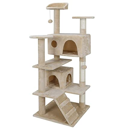 """59000bb1cc48 52"""" Multi-Level Cat Tree Condo Furniture Kitten Activity Play House Bed Pet  Kitty Climbing Tower with Scratching Posts/Plush Perch/Scratcher  Ladder/Tunnel ..."""