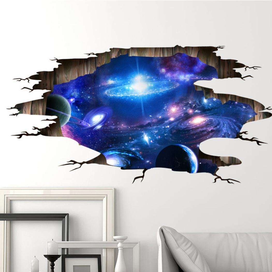 IEason Wall Stickers Clearance Sale! 3D Bridge Floor/Wall Sticker Removable Mural Decals Vinyl Art Living Room Decors (D)