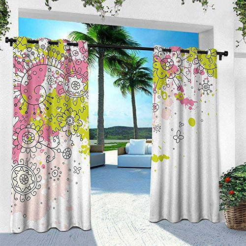 Hengshu Floral, Outdoor Curtain Waterproof Rustproof Grommet Drape,White Backdrop Abstract Sketchy Image with Flower Details Art, W108 x L108 Inch, Hot Pink Light Green and Black