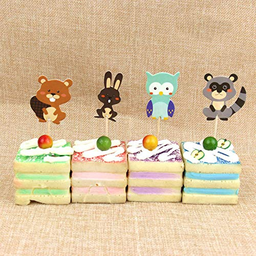 Insertion Tool - 24pcs Cartoon Racoon Rabbit Owl Birthday Cake Decorating Decoration Wedding Christmas Per Stand - Wire For Eyes Safety