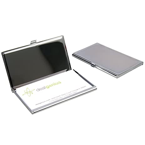 2 travel pocket business card holders cases portable engravable chrome finish - Pocket Business Card Holder