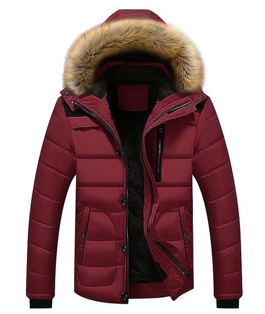 new product c0480 d09e7 Ghope Herren Parka Winterjacke Fellkapuze Winterparka Wintermantel Mantel  Fell Teddyfell Pelz Kunst Winter Warme GH18