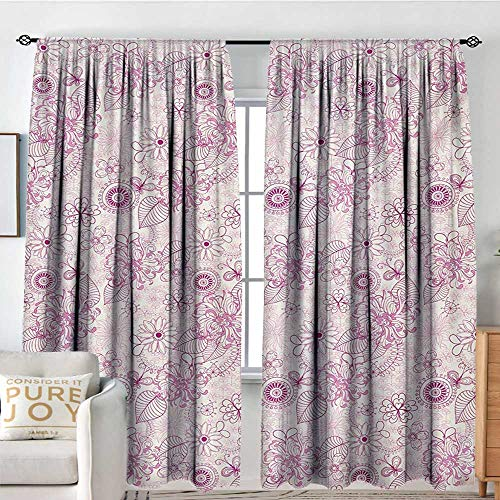 NUOMANAN Blackout Curtains Floral,Shabby Chic Vintage Flower Motifs in Soft Toned Essence Beauty Nature Design,Fuchsia Pale Pink,Rod Pocket Curtain Panels for Bedroom & Kitchen 54