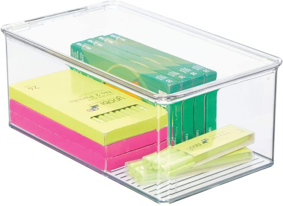 mDesign Plastic Stackable Box for Home, Office Supplies Storage Organizer with Attached Hinged Lid - Holder Container Bin for Note Pads, Gel Pens, Staples, Dry Erase Markers, Tape - 5