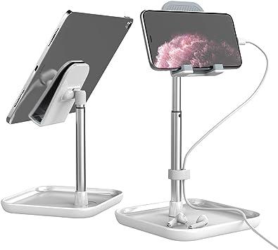 Licheers soporte para teléfono móvil, soporte de mesa de aluminio de altura ajustable en ángulo, compatible con smartphone y otros dispositivos de 4-11 pulgadas (Plateado): Amazon.es: Electrónica