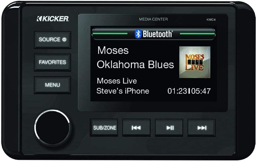 KICKER 46KMC4 Weather-Resistant Gauge-Style Media Center with Bluetooth