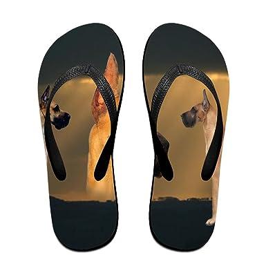 Couple Flip Flops German Shepherd Dog Print Chic Sandals Slipper Rubber Non-Slip Spa Thong Slippers