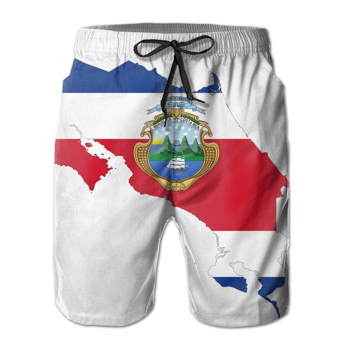 HZamora/_H Men Costa Rica Map Flag Summer Breathable Quick-Drying Swim Trunks Beach Shorts Board Shorts L