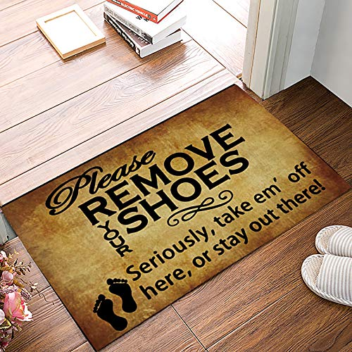 Brawvy Retro Indoor Doormat Front Door Mat 18x30inch Rubber Backing Durable Non Slip Entry Welcome Rug,Please Remove Your Shoes