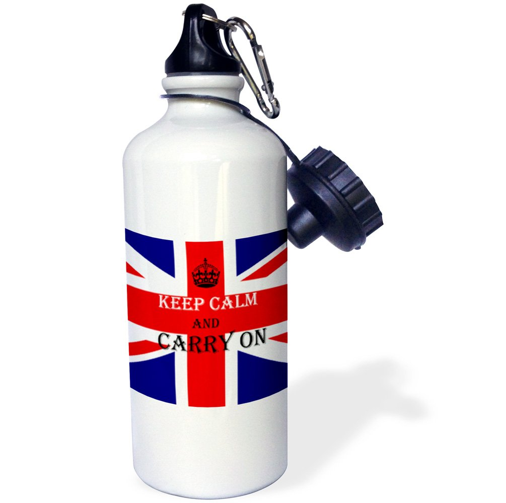 3dRose wb/_211741/_1Keep calm and carry On Flag of England Saying Sports Water Bottle 21 oz Multicolor