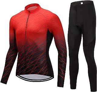 puerhki Tuta da Ciclismo Felpa Camicia a Maniche Lunghe + Pantaloni da Ciclismo Maschi Tuta da Ciclismo Set Adatto per Equitazione Jogging Sportivo