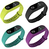 Xiaomi Mi Band 2 bands Pinhen Leather Wrist Blet Strap Wristband Bracelet Accessories With Metal Frame For Xiaomi Mi Band 2 Smart Watch Miband (Silicone 4pcs Set2)
