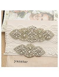 Yanstar Wedding Bridal Garter Off-White Stretch Lace Bridal Garter Sets With Silver Rhinestones For Wedding