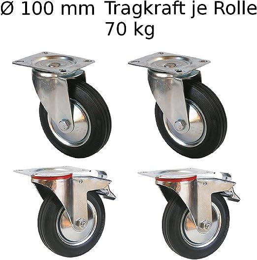 SET 4 St/ück Transportrollen Laufrollen M/öbelrollen 50 mm 75 mm 100 mm 100 mm, 4x mit Bremse
