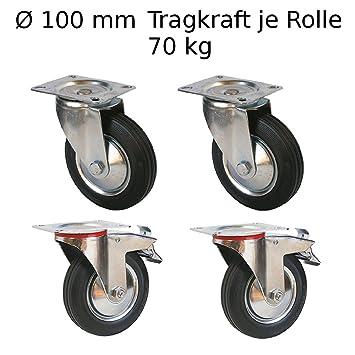 4 St/ück 100mm Transportrolle mit Bremse 70kg Transportrollen Lenkrolle