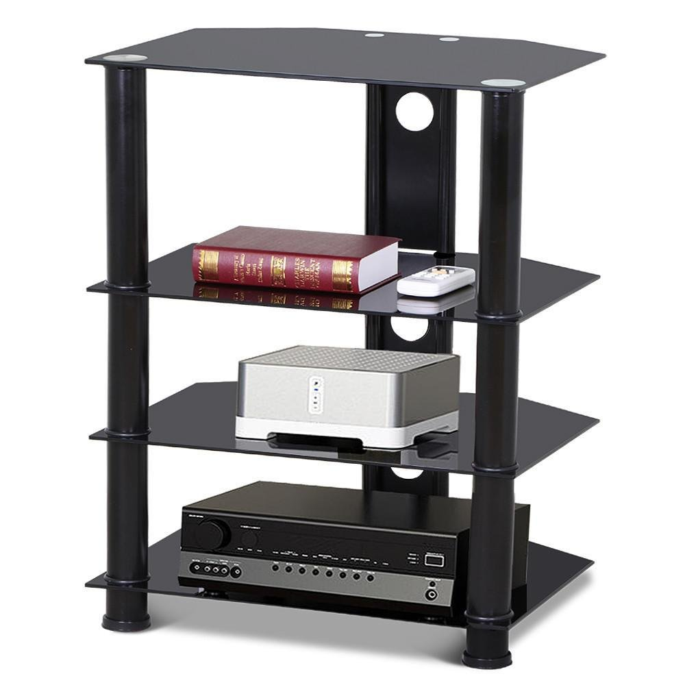 go2buy 4 Tier Black Glass Media Component Stand Audio Rack with Cable Management, Storage for Xbox, Playstation, Cable Boxes