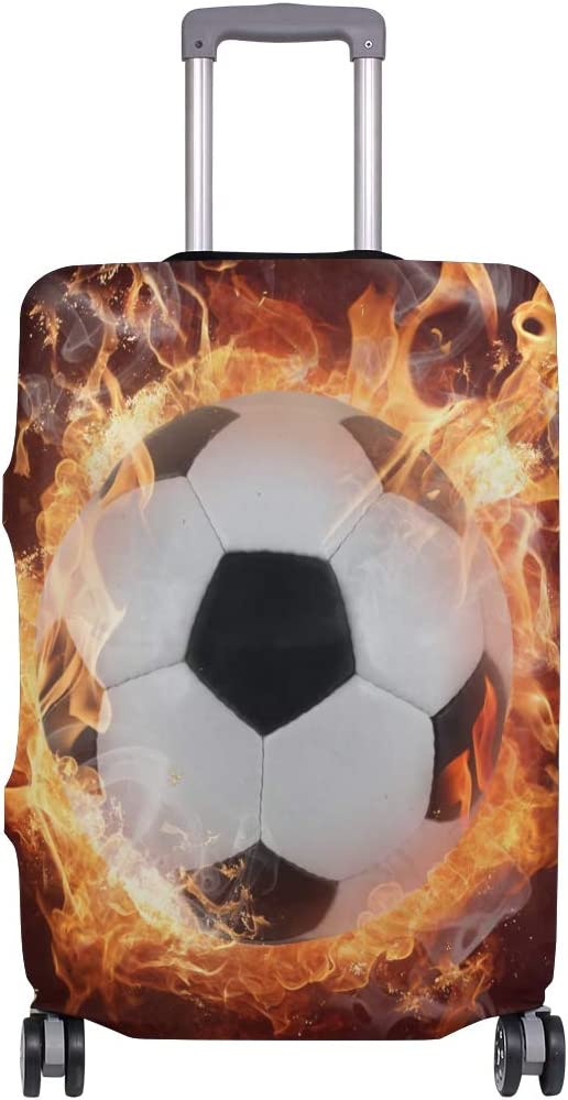 Travel Luggage Cover Hot Soccer Ball Fires Flame Sports Suitcase Protector