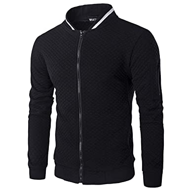 swimstore Mens Hoodie Casual Zipper Jacket Stand-Neck Sudaderas Hombre High-Grade Sweatshirt,