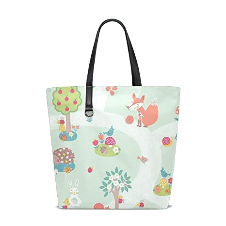 Amazon.com: Forest Friends Animals Bird Tote Bag Purse ...