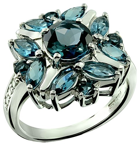 (RB Gems Sterling Silver 925 Ring Genuine Gemstone 3 Cts Flower Ring with Rhodium-Plated Finish (12, London-Blue-Topaz))
