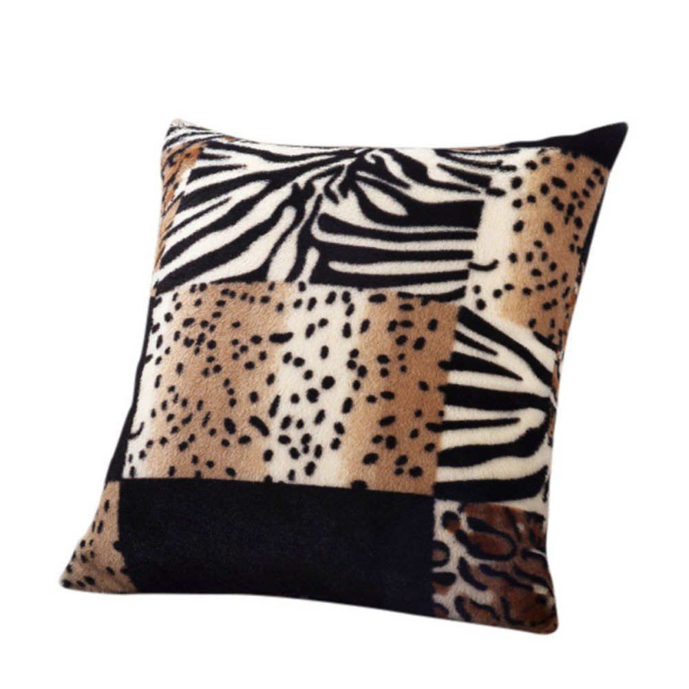Lalang Luxury Animal Zebra Leopard Print Pillow Case Fluffy Sofa Waist Throw Cushion Cover Home Decor (grey) 88_Store