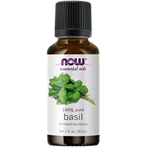 NOW Essential Oils, Basil Oil, Energizing Aromatherapy Scent, Stream Distilled, 100% Pure, Vegan, Child Resistant Cap, 1-Ounce