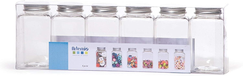 Artemio 6 flacons Plastique Bouchon m/étal