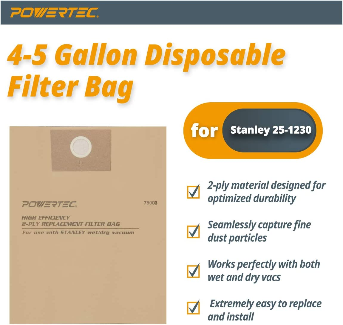 environ 15.14 L 3-pack Porter//Stanley vide Efficace Jetables Filtre Sac pour 4 Gal