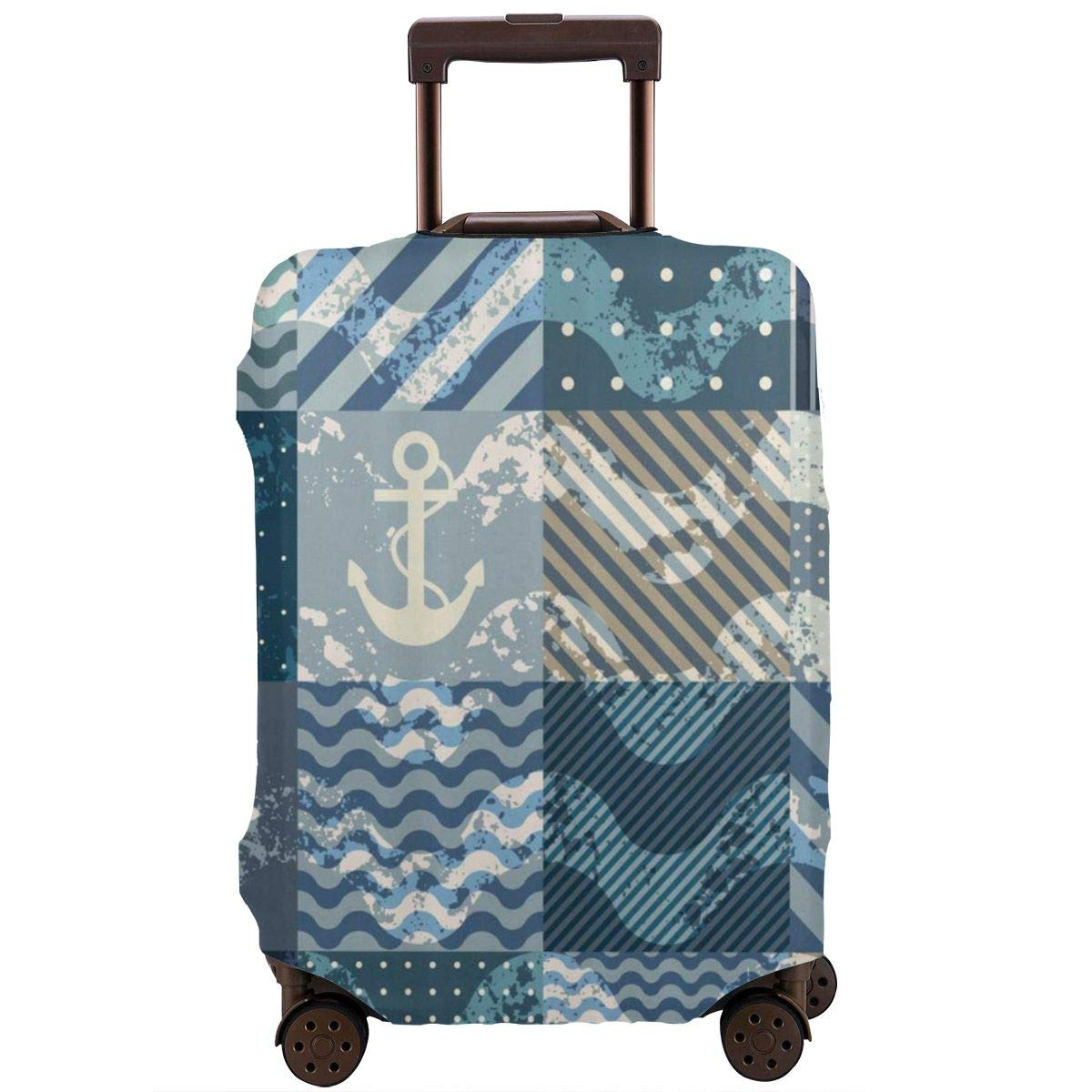 Luggage Cover Nautical Marine Wave Squares Anchor Protective Travel Trunk Case Elastic Luggage Suitcase Protector Cover
