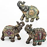 Good Luck Elephant Statues 6 in (H) ~ Three Feng Shui Indian and Batik Figurine Sculptures Trunk Up Decorations and Decor for The Home Hand Painted and Beautifully Decorated Headdress and Blanket