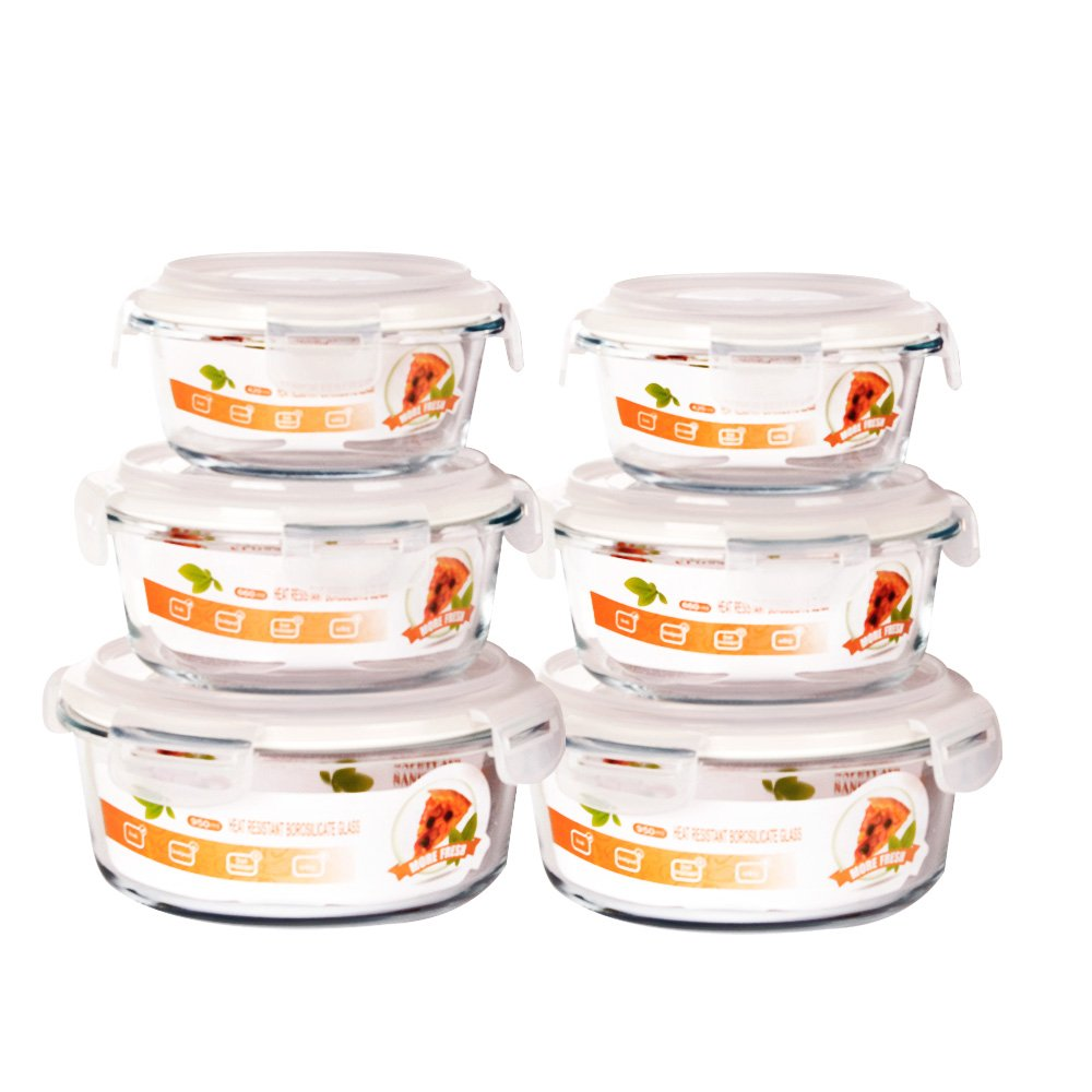 SZUAH Glass Meal Prep Containers (Set of 6) - Round Food Prep Containers with Snap Locking Lids - Airtight Portion Control - BPA Free, Microwave, Oven, Freezer, Dishwasher Safe[14oz,22.5oz,32.5oz]