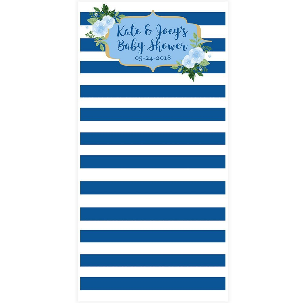 Blue and White Striped Blue Flower Personalized Photo Backdrop