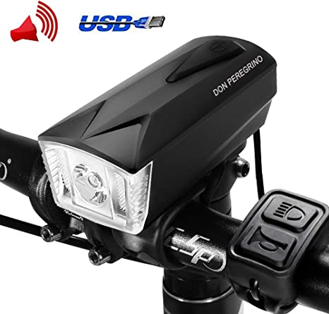 DONPEREGRINO LED Luz Bicicleta Delantera USB Recargable | Faro & E ...