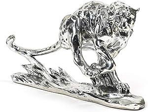 Mu 22.8 Inch Jungle Powerful Jaguar Panther Statue Wildlife Decor Gift,Silver