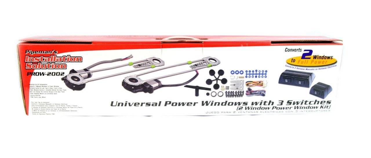 Pipemans Installation Solution Universal 2 Door Electric Car Truck Power Window Conversion Kit Roll Up Switches